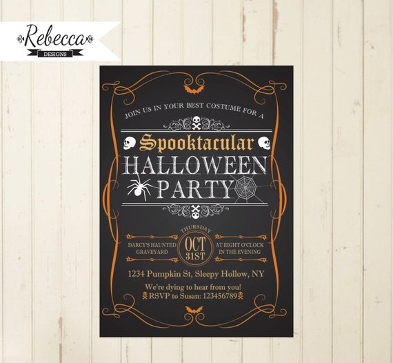 Halloween Chalkboard Printable Invitation