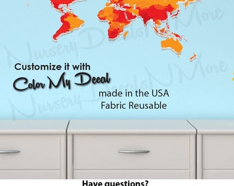 World Map Decal for Kids, World Map Wall Mural, Kids Wall Stickers (WorldmapExtruded_Orange_Mini )
