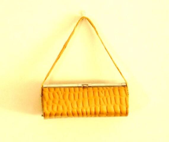 faux alligator purse gold yellow handbag clutch purse patent