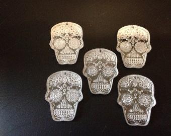 Day of The Dead Laser Engraved Sugar Skulls lot of 5 plexiglass skulls