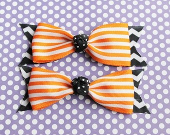 Two Orange and Black Halloween Hair Bows