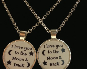 2 Necklaces I Love You To The Moon & Back Quote Best Friends Couple's Sisters Set