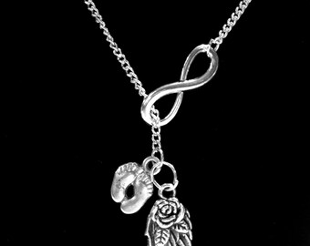 Memory Necklace, Angel Baby, Infinity Guardian Angel Wing Baby Footprints Necklace,Child Heaven Miscarriage Sympathy Gift  Y Lariat Necklace