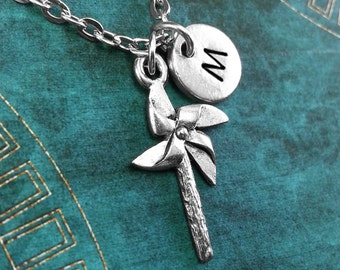 Pinwheel Necklace, Personalized Necklace, Toy Windmill Pendant, Custom Necklace, Childhood Jewelry Monogram Necklace Pinwheel Charm Necklace