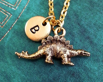 Stegosaurus Necklace SMALL Dinosaur Necklace Dinosaur Gift Personalized Necklace Monogram Necklace Gold Stegosaurus Charm Dinosaur Jewelry