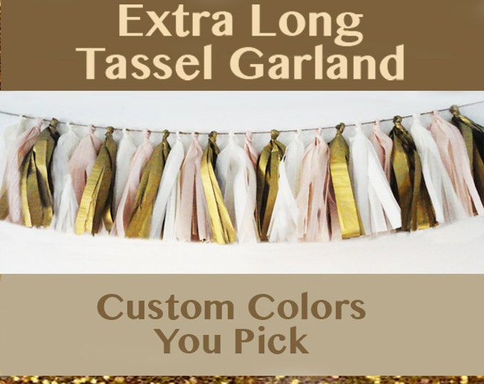 Custom Color 30 Tassel Garland | Extra Long Rainbow Tassel | Gold or Silver Tassel | Wedding Tassel | Baby Shower Garland