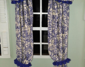 Blue and cream toile print curtains and valance