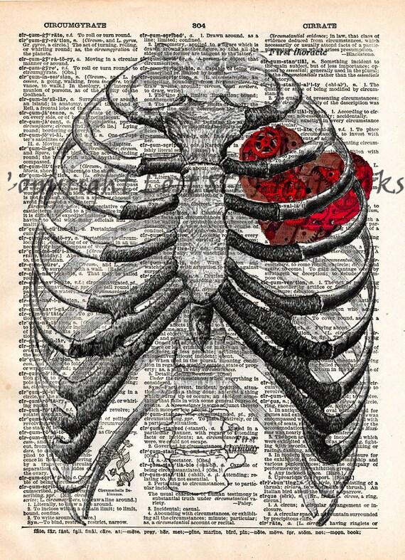 Steampunk clockwork heart vintage anatomy ribcage dictionary