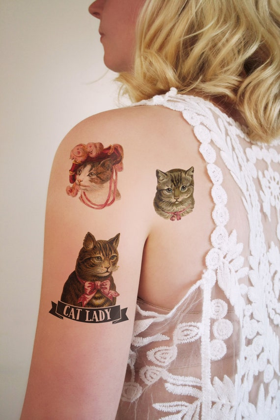Cat lady temporary tattoo set cat temporary tattoo by for Cat lady tattoo