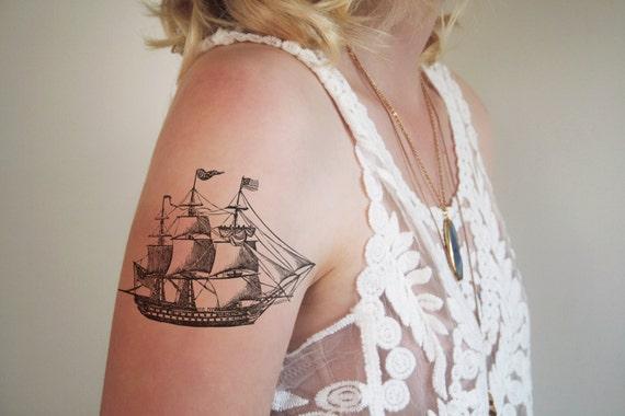 Ship temporary tattoo / vintage temporary tattoo / boat temporary tattoo / sailor temporary tattoo / nautical temporary tattoo / ship gift