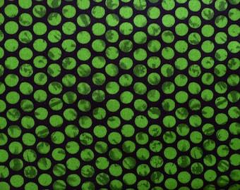 Green Quilt Fabric, Maywood Studio 87101, Emperors Garden, Green Dot Fabric, Halloween Fabric, Halloween Quilt Fabric, Green & Black Cotton