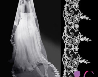 Floor/chapel length Bridal Veil- So exquisite and elegant, with a 12.5cm width lace edge