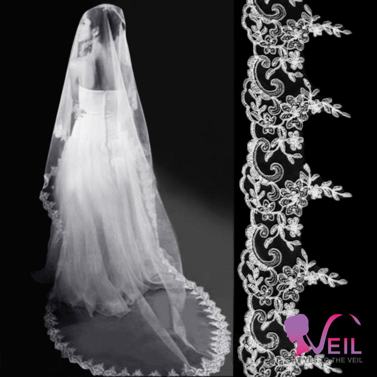 Exquisite Wedding Head Pieces: Floor/chapel Length Bridal Veil So Exquisite And Elegant