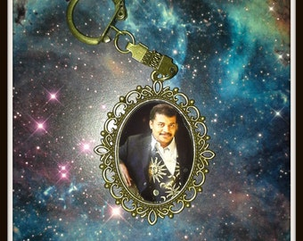 Neil Degrasse Tyson Keychain, Cosmos A Spacetime Odyssey, Jewelry, Purse-Clip, Backpack Clip