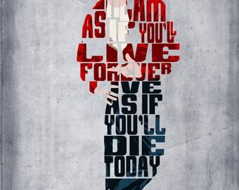 James Dean - Minimalist Typography Poster, Movie Poster, Art Print, Illustration, Wall Art