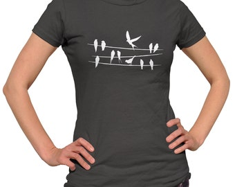 Birds on a Wire T-Shirt - Mens and Ladies Sizes Small-3X - Bird TShirt - (Please see SIZING CHART in Item Details)