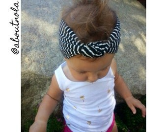 Black and White top knot turban-striped baby headwrap-striped knotted turban-black and white girls turban-adult turban