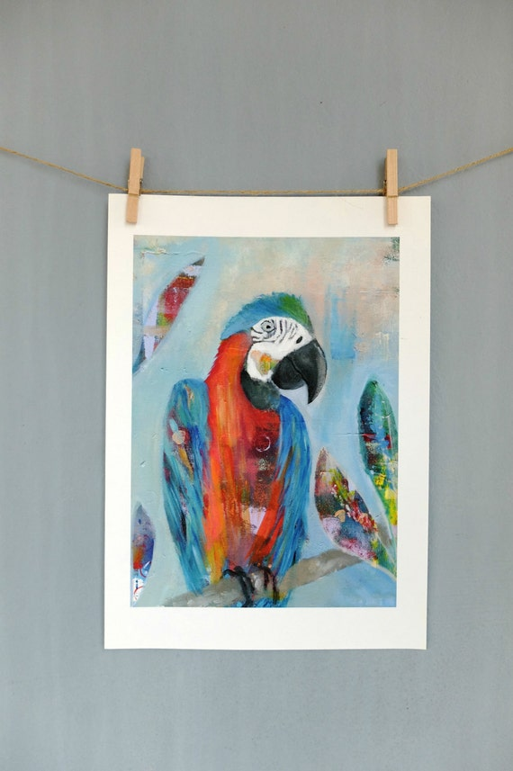 Quirky Wall Decoration : Parrot art print wall decor kids nursery