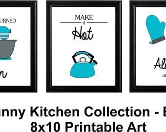 funny kitchen art set of 3 digital download