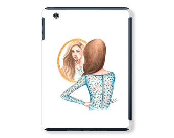 iPad case, ipad cover,  ipad mini, ipad air, fashion illustration, fashion art, lipstick, watercolor - In the mirror