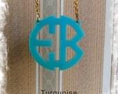 Two Initials Monogram Necklace - Circle Monogram Name Acrylic Monogram Jewelry - Turquoise Necklace