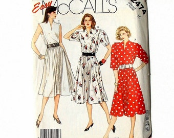 Vintage 80's McCall's Dress w/Pockets Sewing Pattern 2474 - Uncut - Size 16