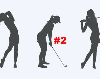 Female Golfer - Multiple Options - Car/Truck/Computer/Home Decal