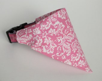 Pink Damask Dog Bandana, Dog Scarf, no tie bandana, slip on bandana, pet bandana, doggy scarf , scarf for dogs