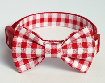 Gingham Dog collar bow tie ONLY, bow tie for dog/cat collars, pet bow tie, collar bow tie, wedding bow tie