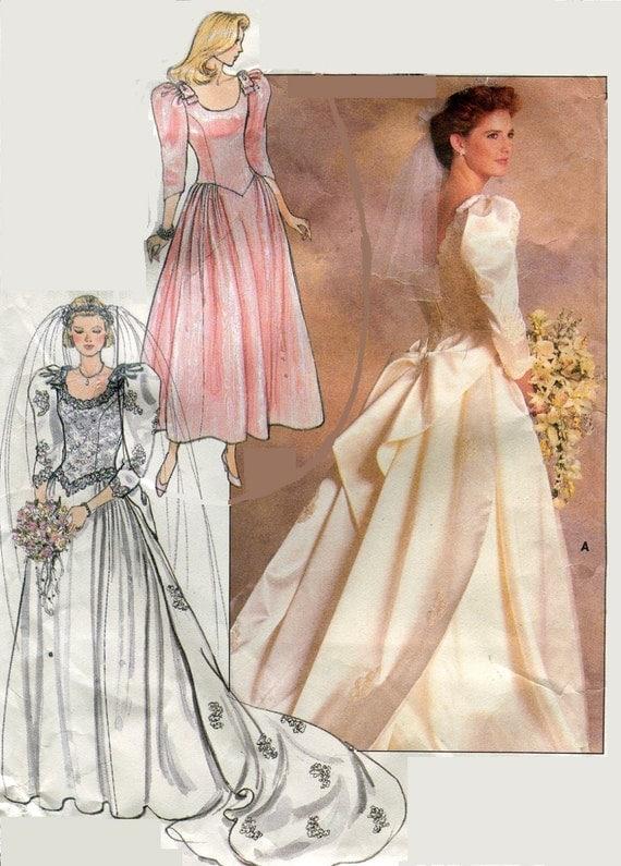 1980s butterick 4743 wedding dress bridesmaids dress for Butterick wedding dress patterns
