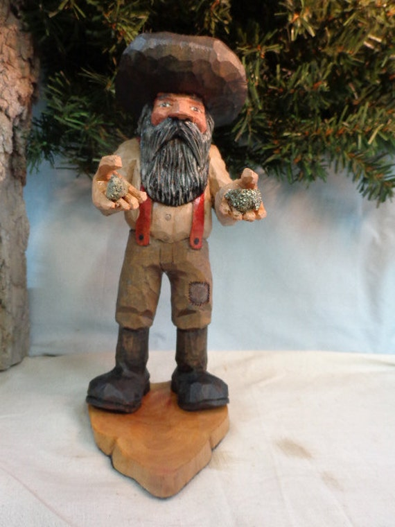 Gold miner hand carved caricature one of a kind gift for