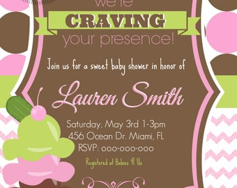 Girl Pickles & Ice Cream Baby Shower Invitation
