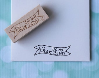Please Do Not Bend Stamp, Do Not Bend Stamp, Don't Bend Stamp, Rubber Stamp, Office Stamp, Wedding Stamp, Mailing Stamp, Hand Drawn Stamp