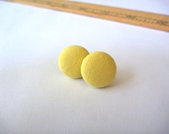 Light Yellow Fabric Button Post Earring.