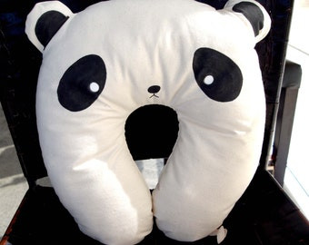 travel neck pillow, panda, neck support, soft and comfortable, animal cushion