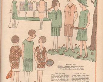 Vogue magazine color designs for dressmaking circa 1920s, 2-sided prints - fash 247