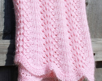 Fan And Feather Knitting Pattern For Baby Blanket : Fan knit Etsy