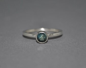 Aqua Sapphire sterling silver ring, engagementring  or stacking ring