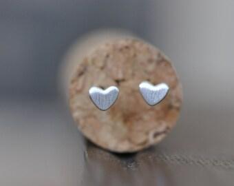 Sterling Silver Heart Studs / Silver Heart Earrings / Tiny Heart Studs / Matte Heart Stud Earrings / Matte Stud Earrings / Jamber Jewels 925