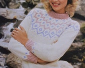 Ladys chunky  jumper vintage knitting pattern pdf INSTANT download pattern only pdf 1970s ski style