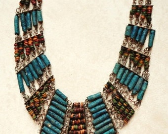 Vintage Boho Beaded Necklace Afro-Ethnic Collar Necklace with Clay Beads
