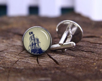 Pirate Cufflinks, Pirate Ship Cufflinks, Antique Nautical Seas Cuff Links, Pirate Jewelry, Personalized Cufflinks, Battleship Cufflinks