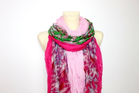 Floral Fringe Scarf - Pink Fringe Scarf - Floral Print Scarf - Boho Fabric Scarf - Women Fashion Accessories - Gift Ideas for Her