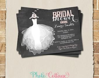 Bridal Shower Invitation, Chalkboard Invitation, Wedding Dress Invitations, Bridal Shower Invites, Pink Invitation, BS116