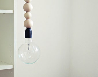 "Ahoj-2012 hanging lamp, lamp ""Pendant light"" from wooden beads with zig-zag cable, lamp, wood, zik-ZAK, geometry, light, canopy, trend"