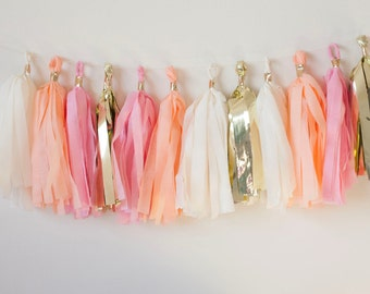 Pink, Peach, Ivory, Gold Tassel Garland (15), Peach Gold Garland, Peach Pink Gold Decor, Peach Gold Bridal Shower, Peach Baby Shower