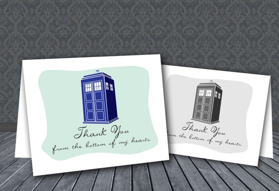 dr who printable thank you cards tardis nerdy by