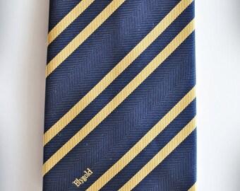 Vintage BLYGOLD Necktie  / Blue with yellow diagonal stripes