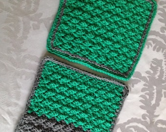 Set of Two Crochet Dish Cloths/Wash Rags Handmade with Green and Gray Cotton Yarn