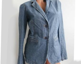Denim blazer / blue denim blazer / jeans lapel collar / medium